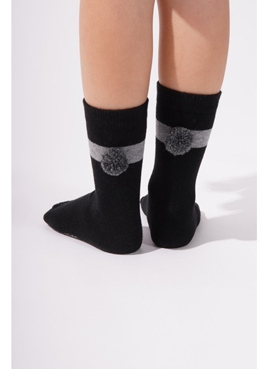 Katia & Bony Ponpon Çocuk Soket Çorap  Siyah